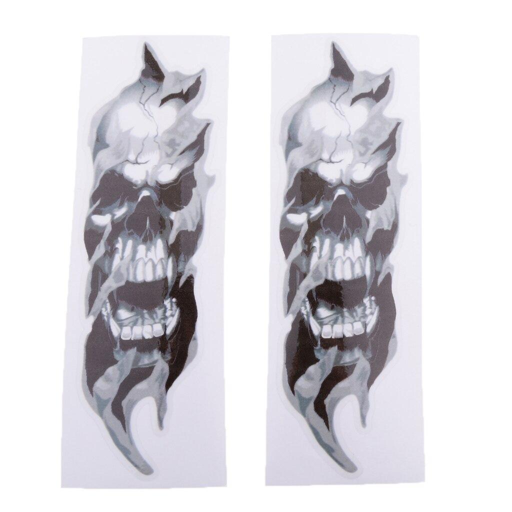Motorcycle Front Fork Skull Decals Graphic Sticker For Kawasaki Ninja Vulcan