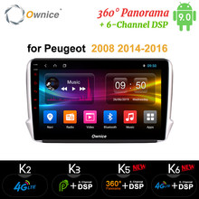 Ownice Android9.0 coche DVD GPS Radio jugador k3 k5 k6 para Peugeot 2008, 208, 2014, 2015, 2016, 360 Panorama DSP 4G LTE SPDIF trayectoria(China)