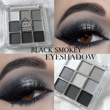 9 cores legal tonificado paleta de sombra preto smokey paleta fosco glitter sombra paleta smoky sombra de olho pigmentos palett