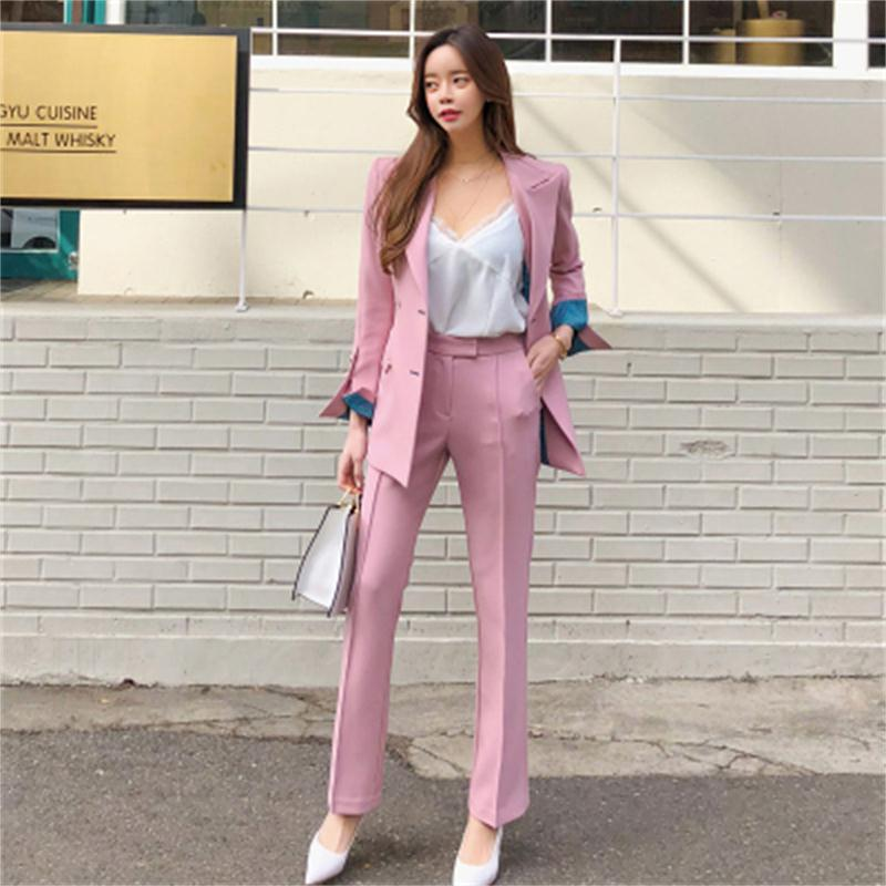 Fashion Suit Suits Female Two-piece Set Spring New Women Double Breasted Business Suit Pink Blazer + Pants Two-piece Suit Women