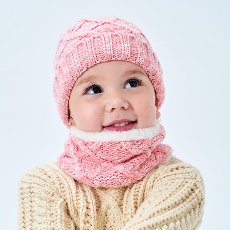 Hot Selling  Children's Hat Scarf Set Plus Velvet Thick Winter Warm Baby Hat