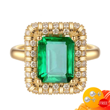 Luxury 925 Silver Jewelry Ring with Emerald Gemstone Charm Finger Rings for Women Wedding Engagement Party Accessories Wholesale