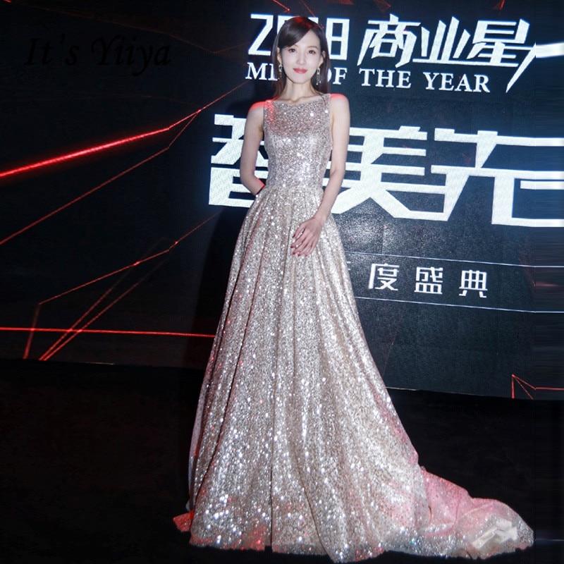 It's Yiiya Evening Dress Elegant Sliver Sequins Evening Dresses Shining Backless Train Formal Gowns Long Robe De Soiree LF130