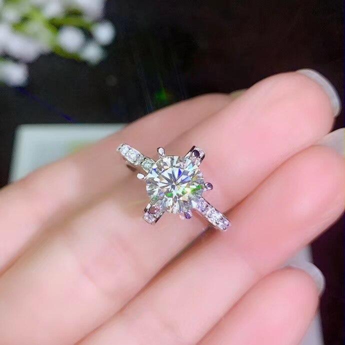 Brillant moissanite anneau femmes bague de fiançailles réel 925 argent attrayant caractère fille anniversaire cadeau date essentiel vente chaude