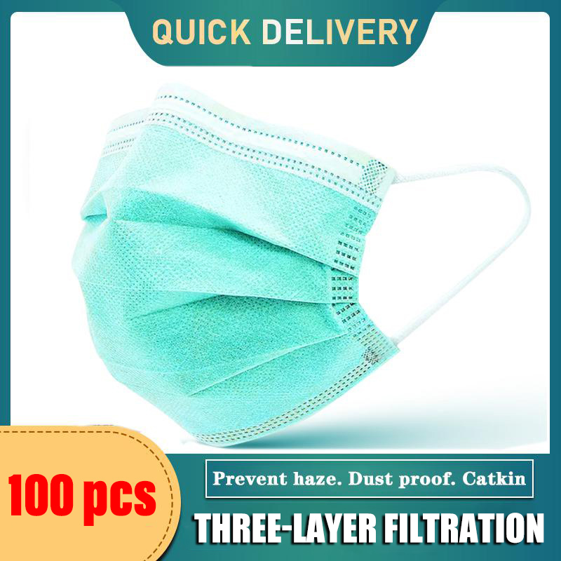 20/100pcs Disposable Mask 3 Layers Earloops Masks Breathing Face Mouth Masks Non-woven Green Adult Face Mask Quick Delivery