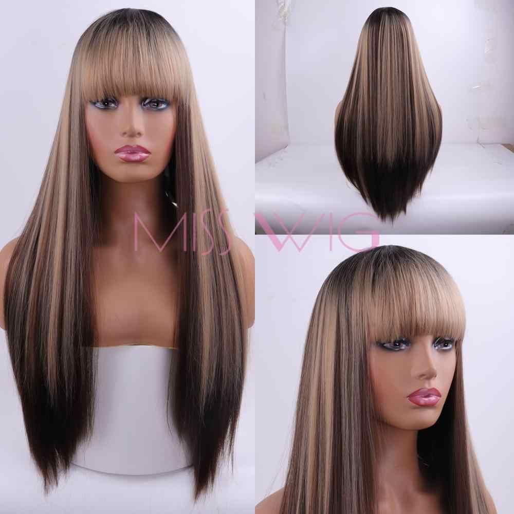 Miss wig peruca de cabelo sintético, cabelo sintético longo liso, 60cm 300g, loiro, vermelho, para mulheres, extensões de cabelo fibra de temperatura