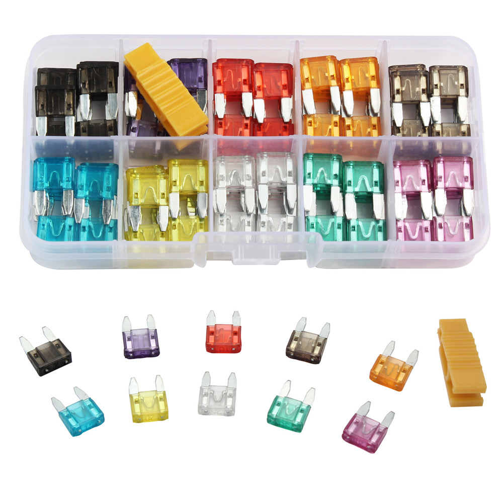 100Pcs Profile Small Size Blade Car Fuse Assortment Set for Auto Car Truck 2.5/3/5/7.5/10/15/20/25/30/35A Fuse with Plastic Box
