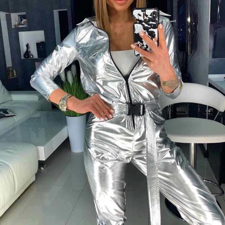 Fashion Long Sleeve Belt Silver Jumpsuit Women Streetwear Capped Zipper Solid Romper Casual Sexy Overalls