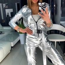 Fashion Long Sleeve Belt Silver Jumpsuit Women Streetwear Capped Zipper Solid Ro