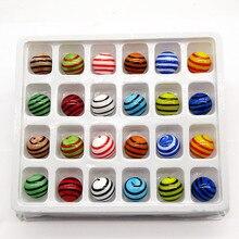 24ps Custom decorative glass Marbles balls 16mm colorful handmade pellet Fish Tank aquarium vase decor children puzzle game toys