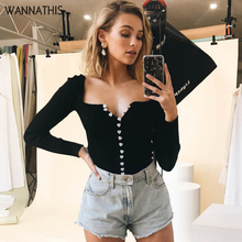 цены WannaThis Womens Tops And Blouses Cute Button V-Neck Sexy Ribbed Knitted Cotton Slim Elastic Black Cardigan Long Sleeve Blouse