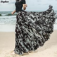 На заказ новые модные фирменные летние с высокой талией черные с принтом плиссированные женские юбки из шифона, сказочные развевающиеся юбки длиной в пол