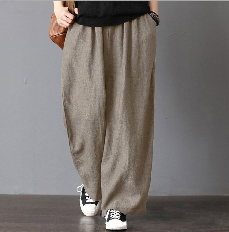 Hot Loose Women's Pants Plus Size5xl Cotton Linen Pants Women Spring High Waist Wide Leg Pants Casual Summer Trousers Streetwear