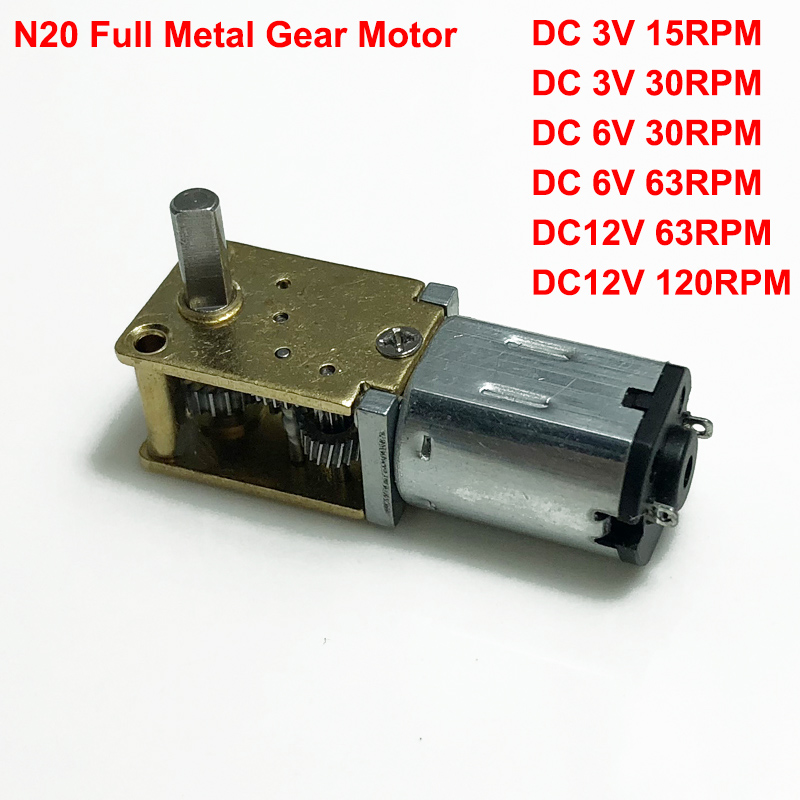 DC 3V 5V 6V 100RPM N20 Mini Full Metal Gearbox Gear Motor Speed Reduction Motor