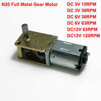 DC3V/6V/12V Mini Micro N20 Worm Gear Motor Full Metal Gearbox 15rpm 30rpm 63rpm 120rpm Slow Speed Large Torque Gearwheel