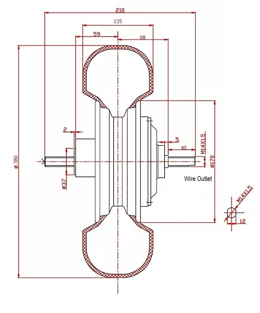 Drawing of 15 inch hub motor