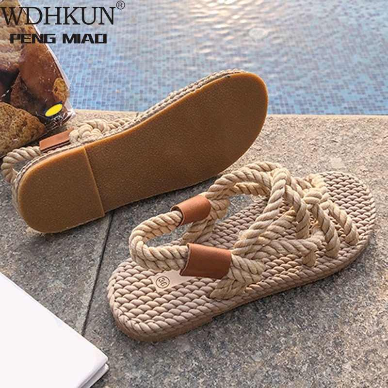 Sandalet kadın ayakkabı örgülü halat geleneksel rahat tarzı ve basit yaratıcılık moda sandalet kadın yaz ayakkabı