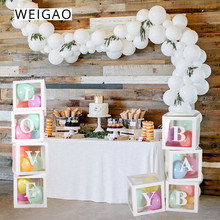 WEIGAO BABY LOVE Transparent Box Balloons Holder Storage Baby Shower Decoration Gift Boy Girl Oh Party Wedding Decor