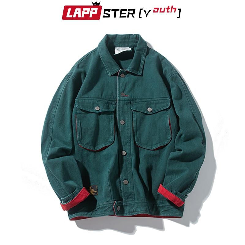 LAPPSTER Streetwear Solid Jeans Jacket Men Denim Coats 2020 Fall Jeans Jacket Male Vintage Color Block Bomber Jacket Windbreaker