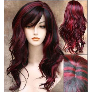 Image 3 - HAIRJOY   Long  Wavy  Synthetic Hair Wig Women  Bugundy  Light Blonde Highlights  for Costume Party