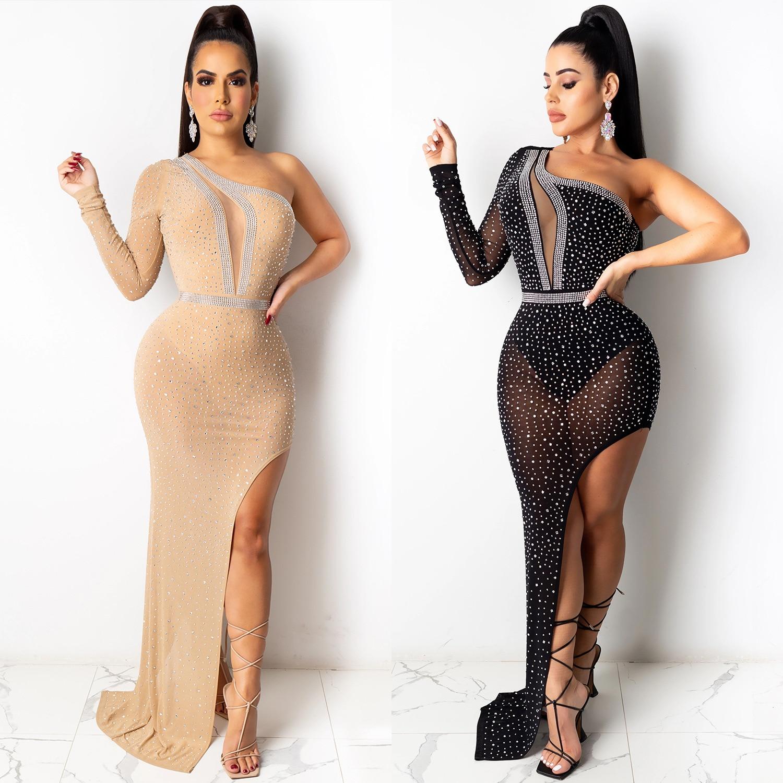 Adogirl Для женщин из прозрачной сетки горячей бурения Maix цельное платье в пол с длинным рукавом облегающее миди платье сексуальная прозрачная...