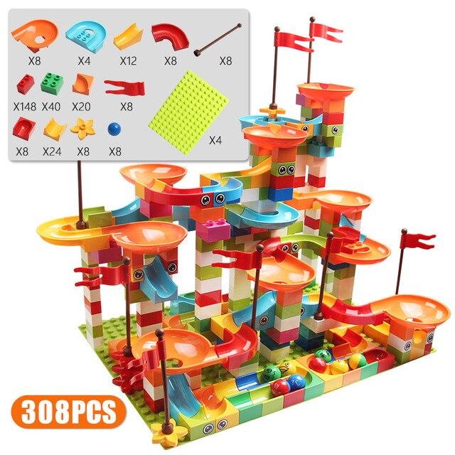 77-308PCS Marble Race Run Big Block Compatible Duploed Building Blocks Funnel Slide Blocks DIY Big Bricks Toys For Children gift 4