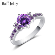 BaliJelry Elegant 925 Silver Rings Jewelry Round Amethyst Zircon Gemstones Ring for Women Wedding Engagement Party Accessories(China)
