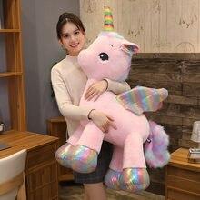 Peluche de arcoíris de unicornio suave para niños, almohada de decoración para el hogar, regalo de alta calidad, caballo rosa
