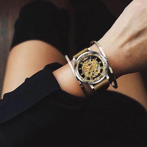 Image 5 - ساعات رجالية رسمية ذات هيكل عظمي للرجال ماركة فضية فاخرة بشبكة ميكانيكية مرصعة بالكريستال رقيقة للغاية للسيدات