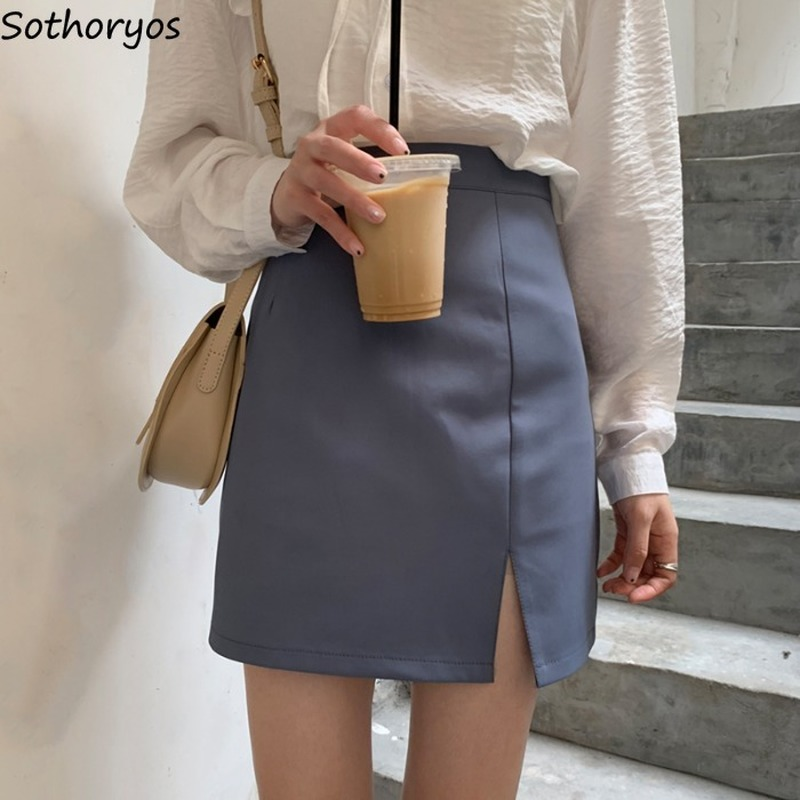 Skirts Women Black 2020 Retro High Waist Solid All Match Harajuku Simple Womens Korean Style Casual Daily Mini Skirt A-line Chic