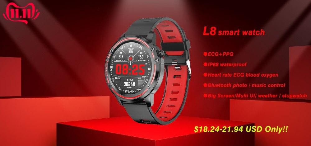 Hc40aaef1b9a445d98ad3474232d45a79e 696 L9 Full touch Smart Watch Men ECG+PPG Heart Rate Blood Pressure oxygen Monitor IP68 Waterproof Bluetooth Smart Bracelet