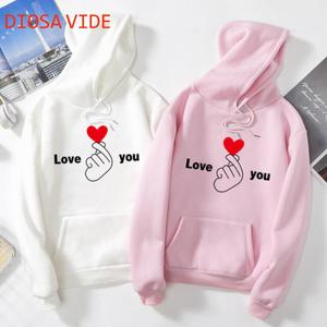 Autumn and winter junior high school students Harajuku style plus velvet thick hoodie men and women fashion lovers trend Casual