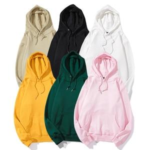 Image 3 - Plain Green Hoodie Sweatshirt Men Pullover Hoodies Autumn 2020 Streetwear Korean Harajuku Hooded Sweatshirt Casual Black White