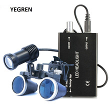 2.5X 3.5X Binocular Magnifier Dental Loupe 3W 5W LED Spotlight Medical Headlight with Rechargeable Battery Surgical Loupes