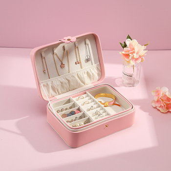 New Large Travel Portable Jewelry Box Cute Button Leather Jewelry Box Ring Earring Holder Display Jewellery Organizer Gift Box large leather gift box for jewellery wedding party decoration display velvet organizer earing necklace ring packaging pink box