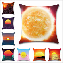 The Sun Sunset scenery sea view Art pattern Cushion Cover Decoration chair car office Home sofa seat friend kids bedroom gift pillowcase home office leisure outdoor rattan daybed with white cushion to sea port by sea