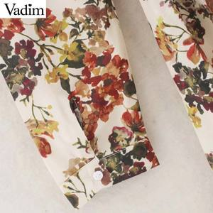Image 5 - Vadim women sweet floral print maxi dress bow tie sashes long sleeve female casual chic dresses ankle length vestidos QD070