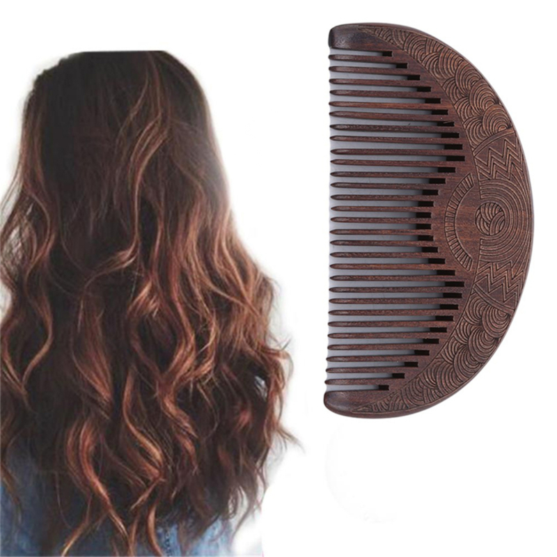 2020 New Brown Color Hair Care Comb High Qaulity Anti-static Handmade Natural Wood Wooden Carved Sandalwood Combs Mandarin