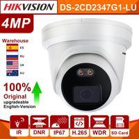 Original Hikvision IP Camera ColorVu DS 2CD2347G1 L 4MP Network Bullet POE Camera WDR colorful H.265 CCTV Camera SD Card Slot