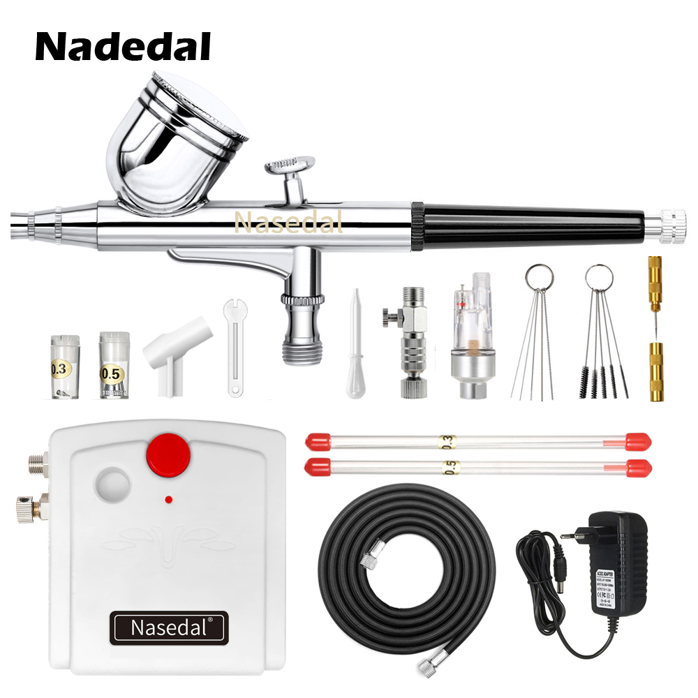 Nasedal Dual-Action Spray Gun Airbrush With Compressor 0.3mm Airbrush Kit For Nail Airbrush For Model Cake Car Painting NT-19