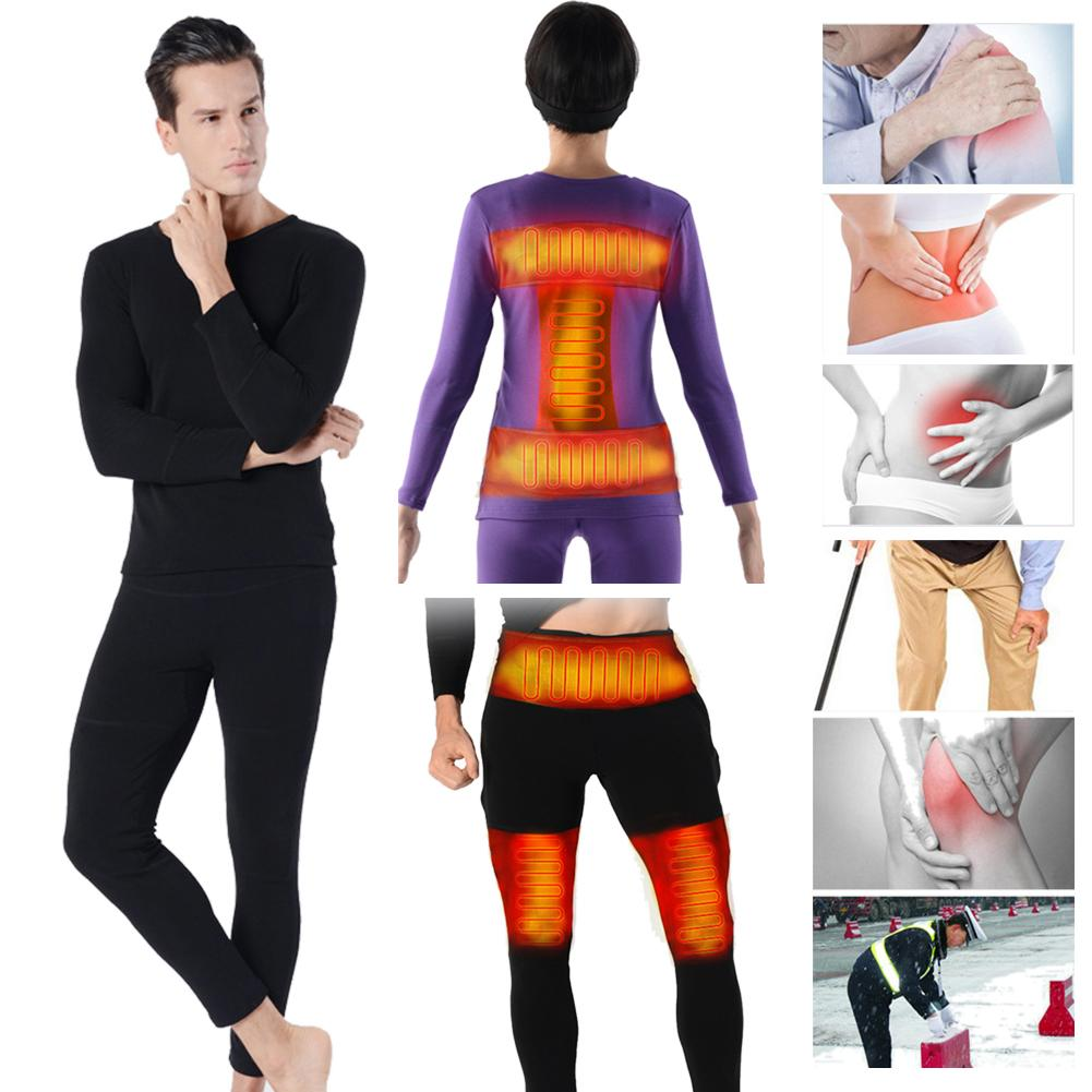 Insulated Electric Heating Underwear And Pants Adjustable Charging Heated USB Carbon Fiber Thermal Clothes For Men And Women