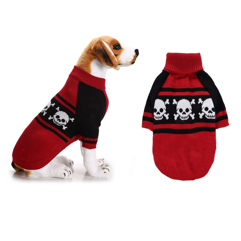 Halloween Dog Sweaters Skull Printed Turtleneck Puppy Sweater For Spring Autumn Small Large Dogs Coat XXS-XXL ropa para perro