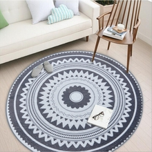Round Carpet Geometric Printed rug Livingroom Rug Bedroom Bedside Coffee Table Computer Chair Antislip Floor Mat Home Decor