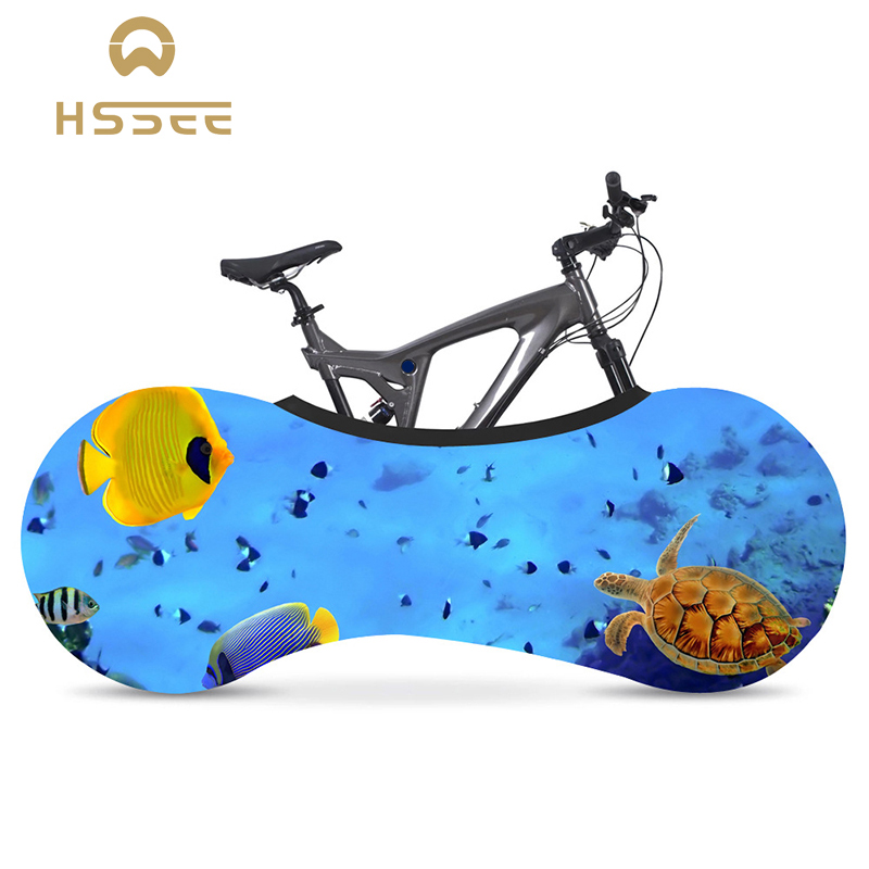 HSSEE Ocean Series Bicycle Cover Milk Silk High Elasticity Non-fading Indoor Bicycle Dust Cover Official Genuine Accessories