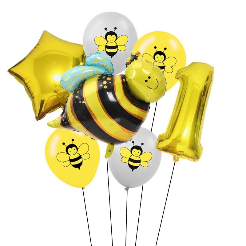 7 шт 12 дюймов мультфильм пчела латексные шары 0-9 Количество фольги воздушный шар набор надувной шар для детского душа детский день рождения партии поставки-1