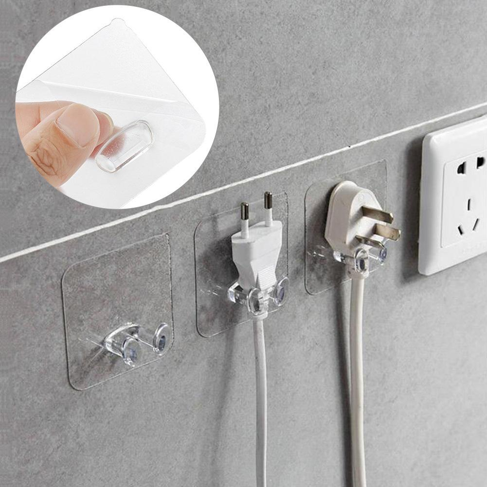 Wall Storage Hook Power Plug Socket Holder Strong Self Adhesive Door Wall Hangers Hooks Silicone Hanging Kitchen Magic Bathroom