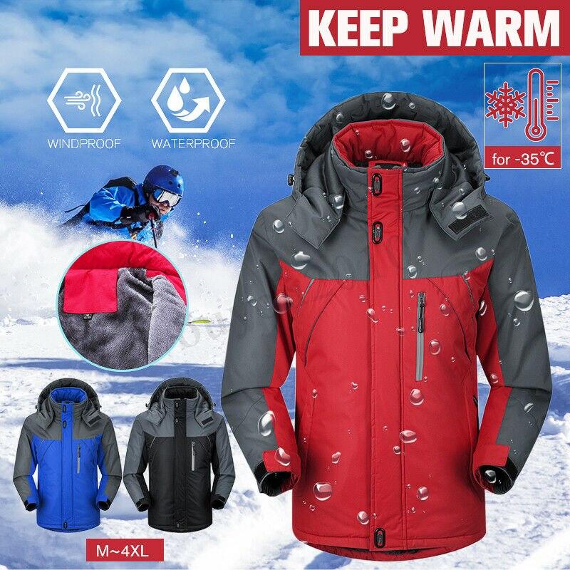 2019 New Brand Winter Jacket Men Women Fashion Warm Outdoor Jackets Fleece Lined Waterproof Ski Snowboard Coat Plus Size M-5XL