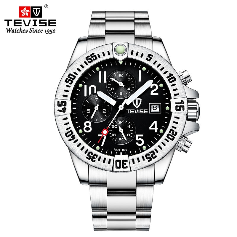 TEVISE Chronograph Automatic Man Watch Mechanical Waterproof Fashion Casual Wristwatch Stainless Steel Function Clock Male T839B