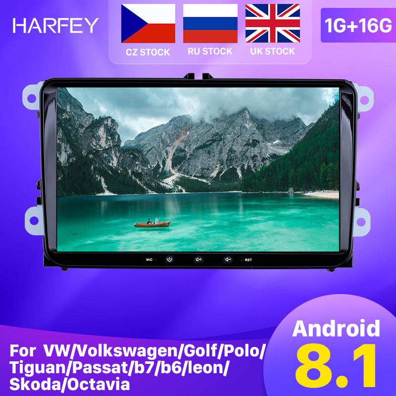 Harfey android 8.1 2din para vw/volkswagen/golfe/polo/tiguan/passat/b7/b6/leon/skoda/octavia carro rádio gps carro multimídia jogador