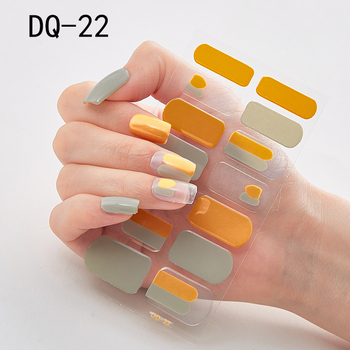14pcs/sheet Glitter Gradient Color Nail Stickers Nail Wraps Full Cover Nail Polish Sticker DIY Self-Adhesive Nail Art Decoration 93